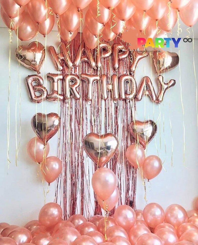 1 Birthday Decoration Ideas at Home Best Of Rose Gold Happy Birthday Decoration Set。 Perfect Rose Gold