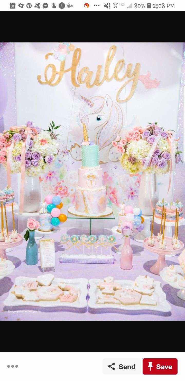 1 Year Birthday Decoration Ideas Luxury 1 Yr Old Unicorn themed Birthday Party Treats and Backdrop