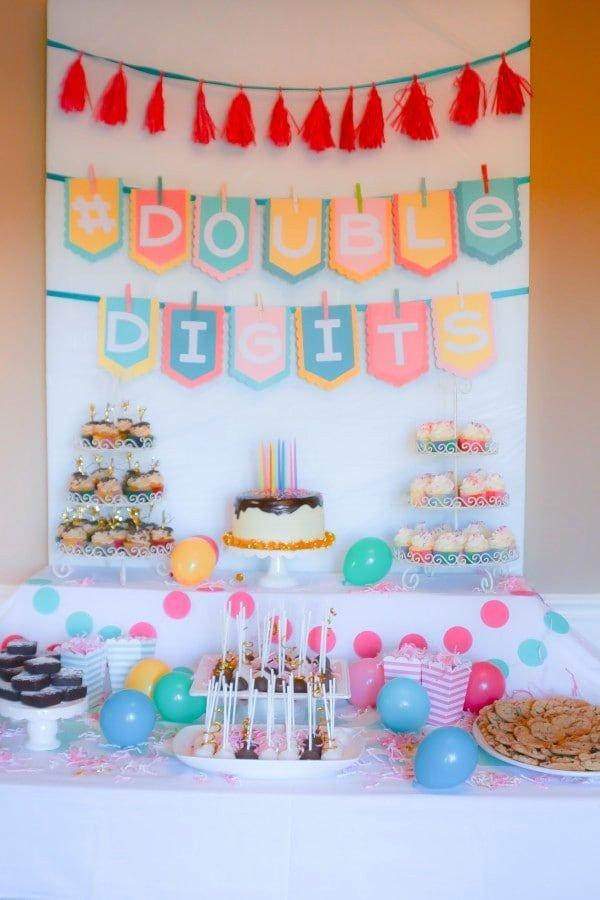 10 Year Old Birthday Decoration Ideas New Doubledigits A 10th Birthday Party Lemon Sugar