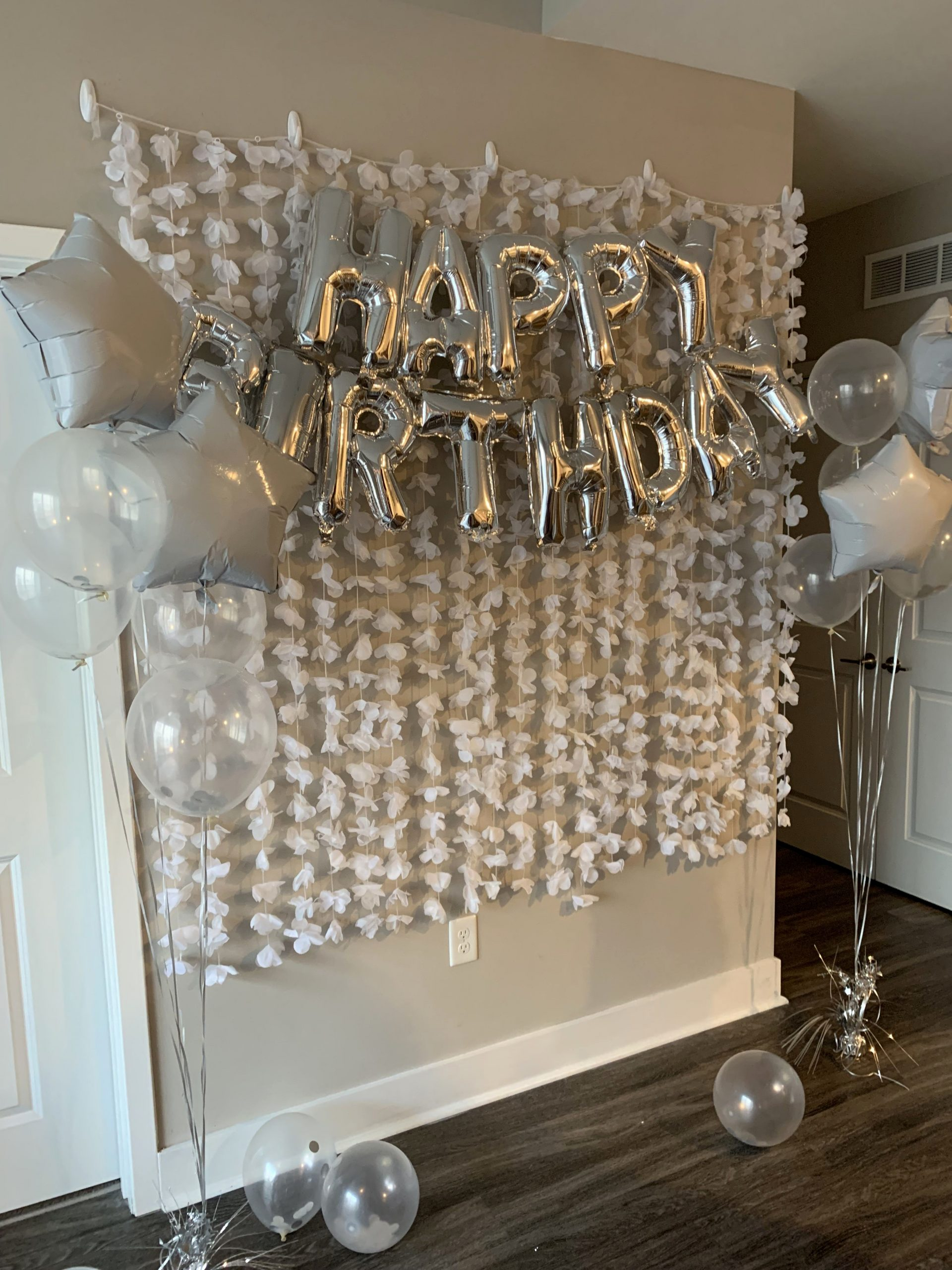 21st Birthday Decoration Ideas at Home Fresh White Birthday Backdrop