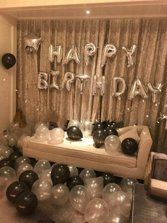 23rd Birthday Decoration Ideas Beautiful Silver Happy Birthday Decoration with Black Balloon Bouquet