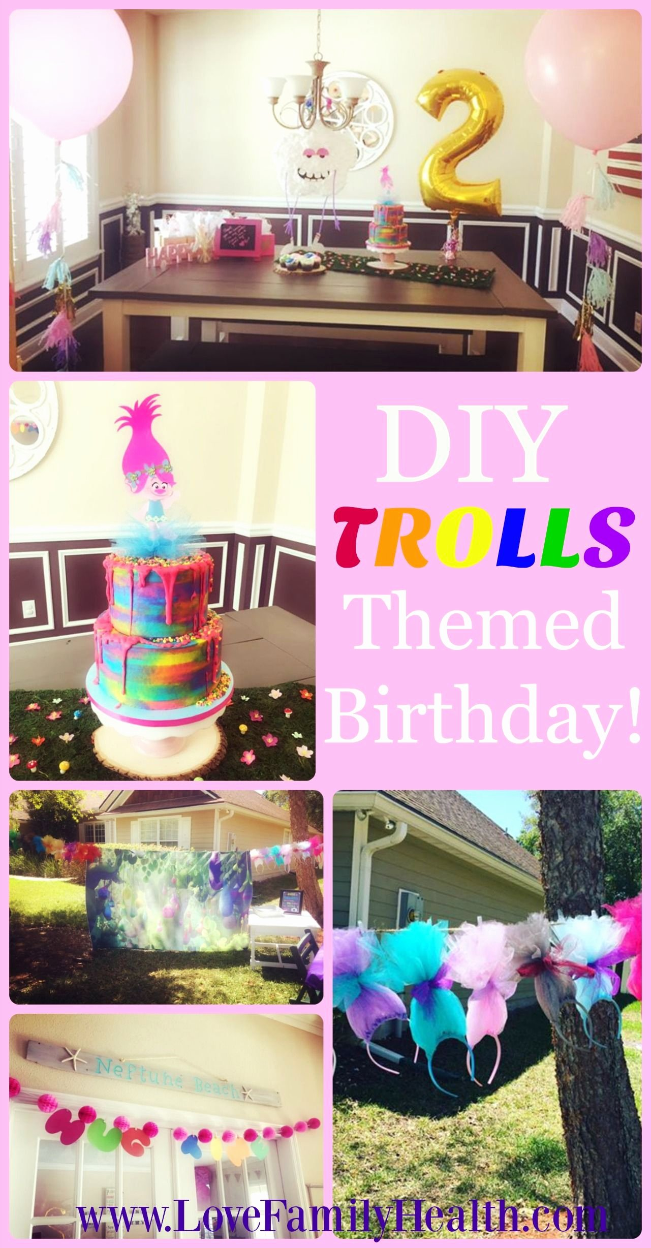 2nd Birthday Decoration Ideas at Home for Girl New Diy Trolls themed 2nd Birthday