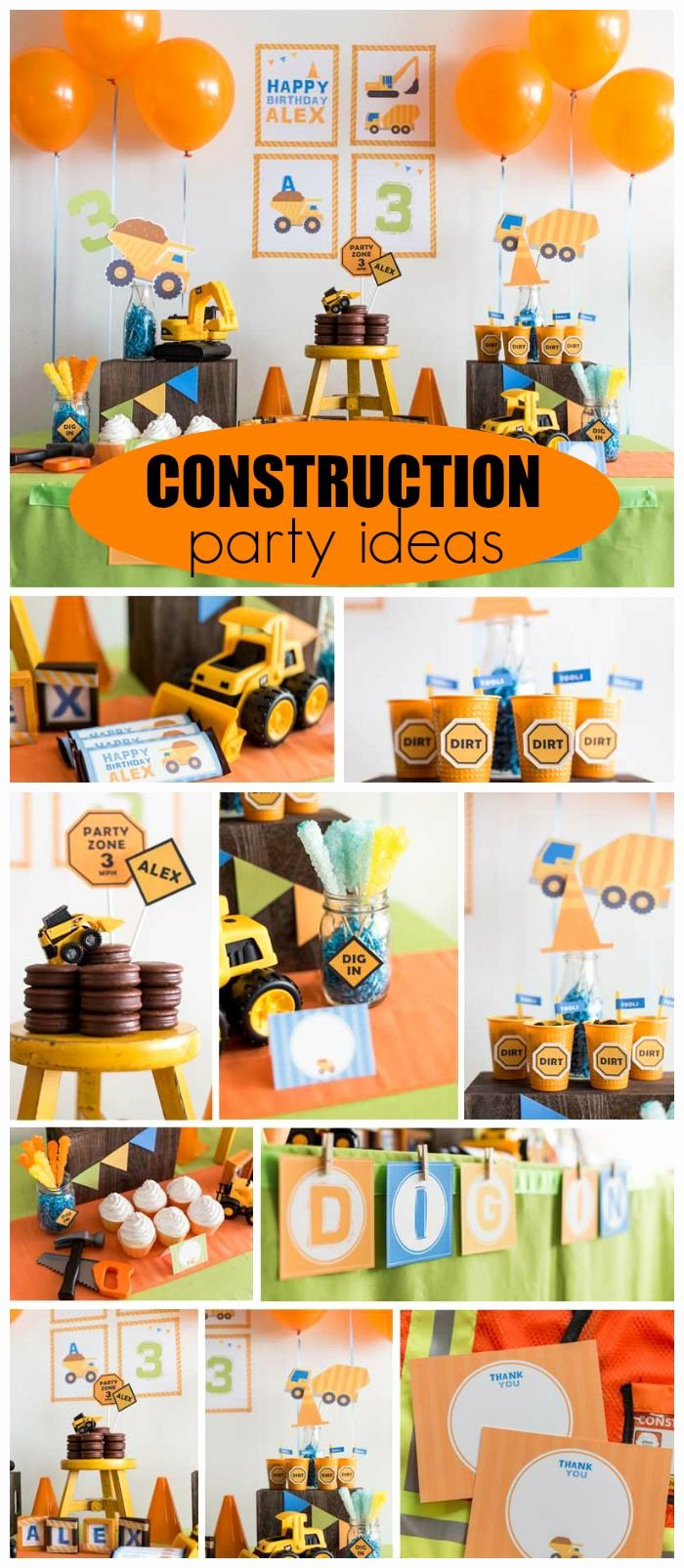 "2nd Birthday Decoration Ideas for Boy Best Of Construction Birthday ""construction Party"""
