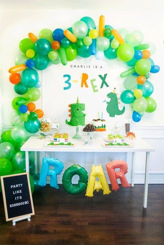 3rd Birthday Decoration Ideas for Boy Elegant 3 Rex Three Rex Dinosaur Party Backdrop Birthday Party