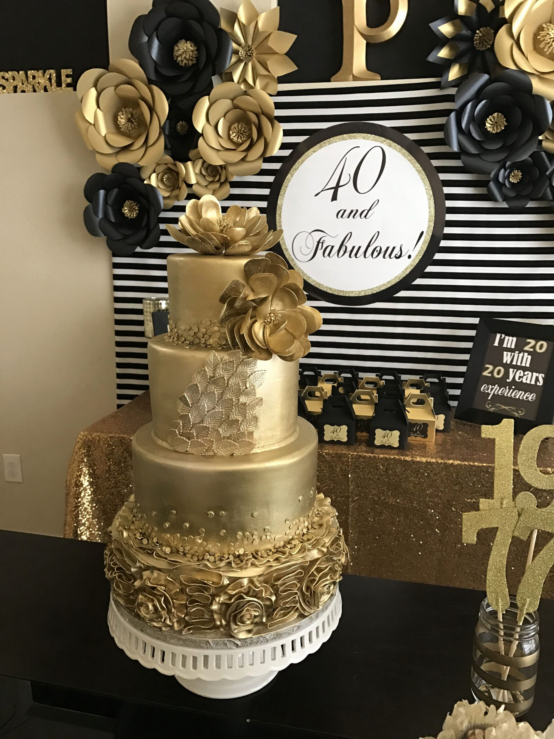 40 Year Birthday Decoration Ideas New Gold Cake 40 and Fabulous