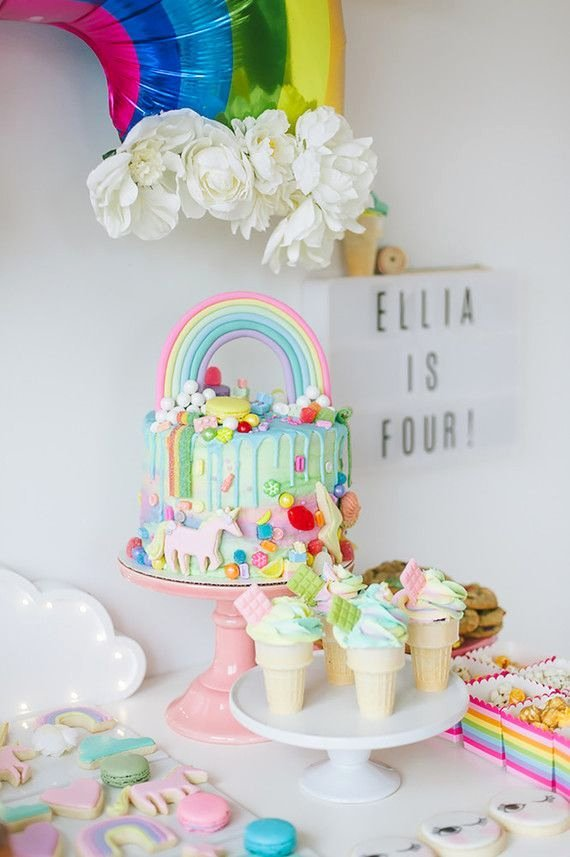 4th Birthday Decoration Ideas Awesome Rainbow Girls 4th Birthday Party