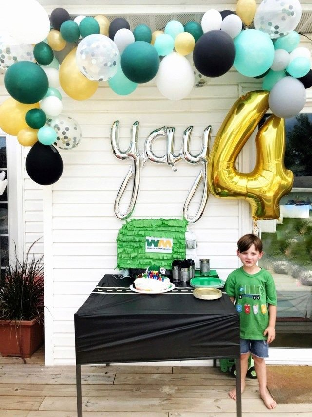 4th Birthday Decoration Ideas for Boy Lovely Calvin S Garbage Truck 4th Birthday Party