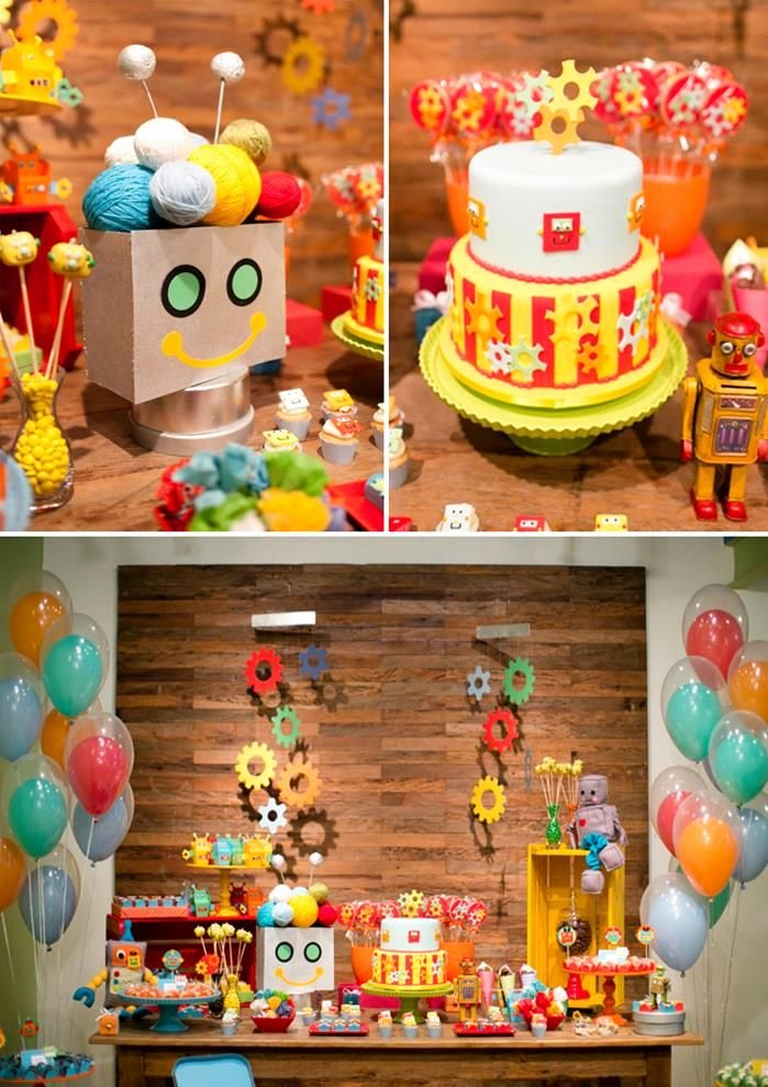 4th Birthday Decoration Ideas Lovely Robot Party Planning Ideas Supplies Idea Cake Decorations