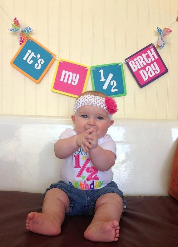 6 Months Birthday Decoration Ideas Awesome Half Birthday Rainbow It S My 1 2 Birthday Banner for 6