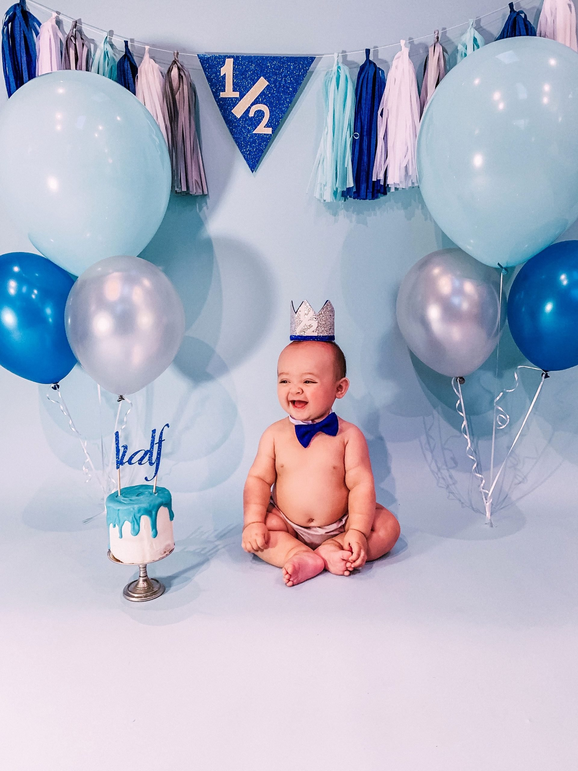 6 Months Birthday Decoration Ideas Unique Half Birthday Boy Cake Smash Photoshoot