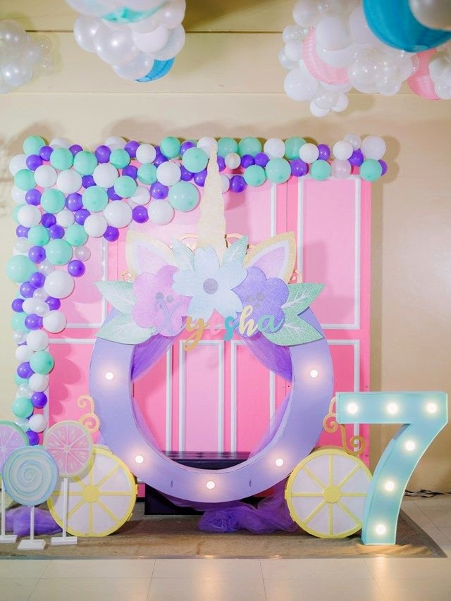 "7th Birthday Decoration Ideas for Girl Fresh Xyesha S "" Can S A Princess and Her Unicorn"" themed"