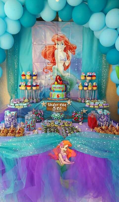 Ariel Birthday Decoration Ideas Luxury Little Mermaid Party Under the Sea Candy Table Caramel