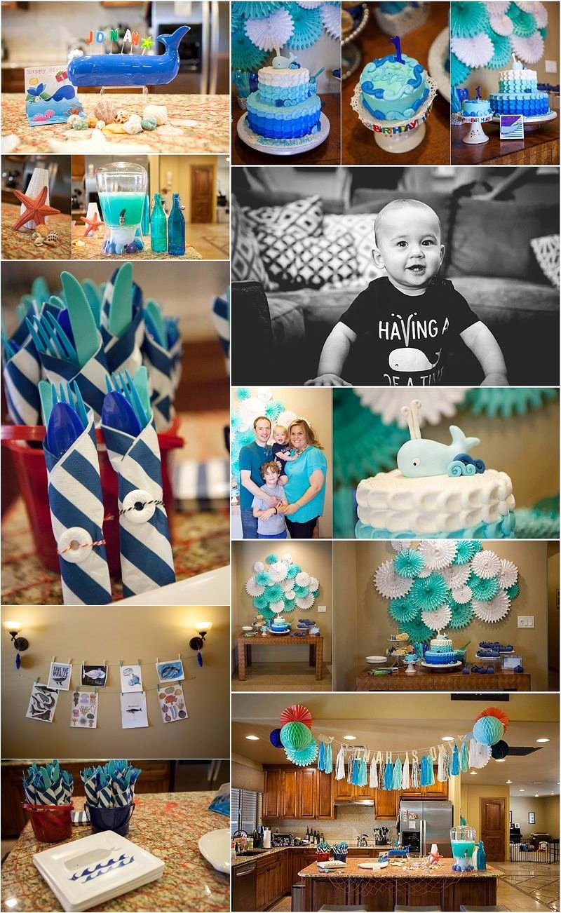 Baby Boy 1st Birthday Decoration Ideas at Home Unique Whale theme First Birthday Party Featured On Life Lens