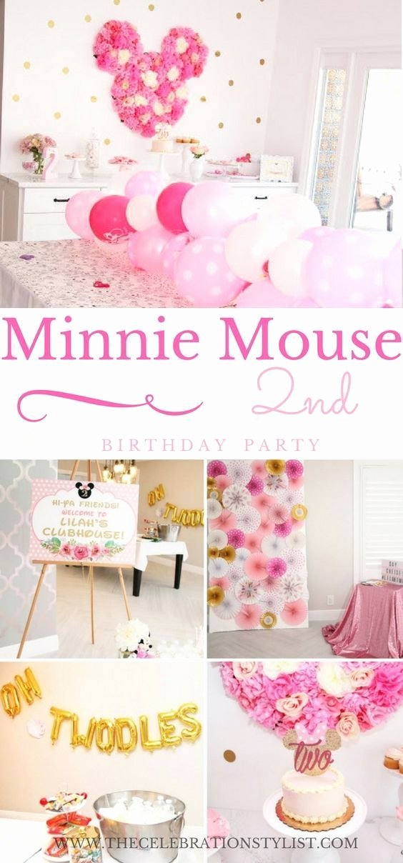 Baby Girl 2nd Birthday Decoration Ideas Elegant Floral Minnie Mouse Birthday Party