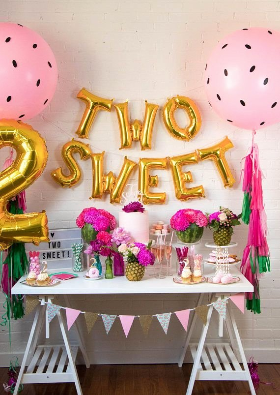 Baby Girl 2nd Birthday Decoration Ideas Inspirational Two Sweet Balloon Banner Two Tti Fruity theme Decor