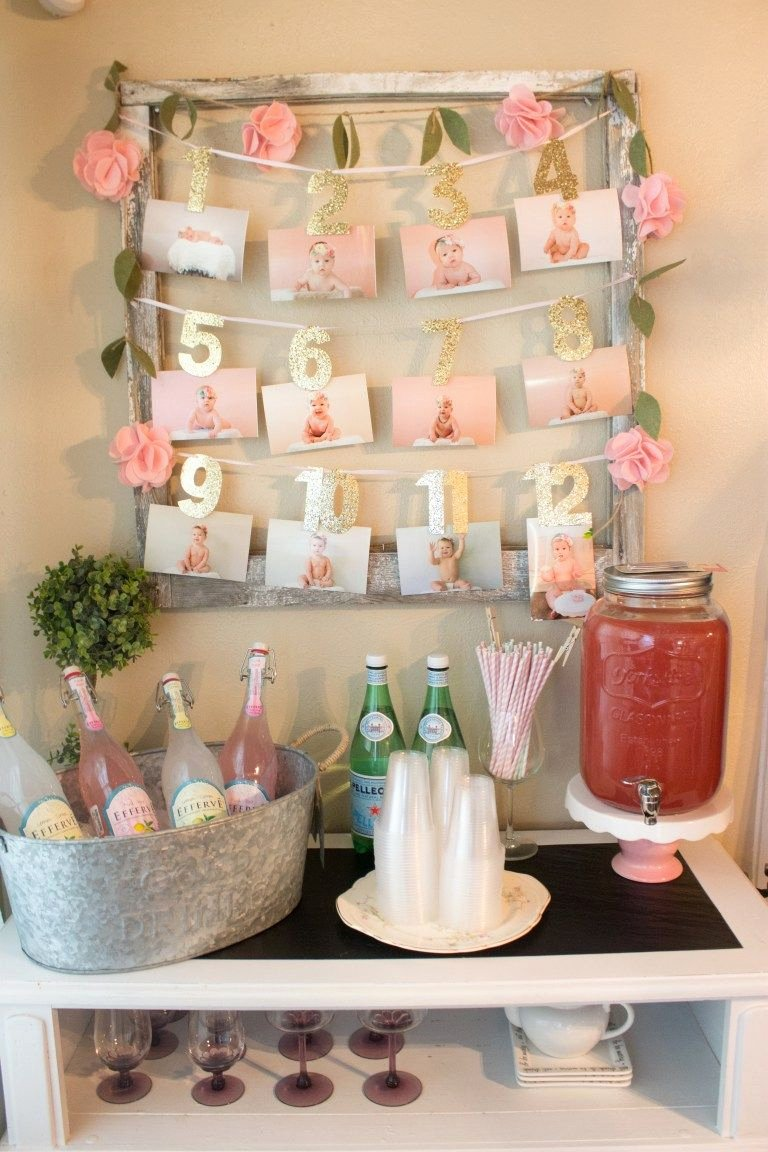 Baby Girl Birthday Decoration Ideas at Home Unique A Pink and White Floral themed First Birthday Party with
