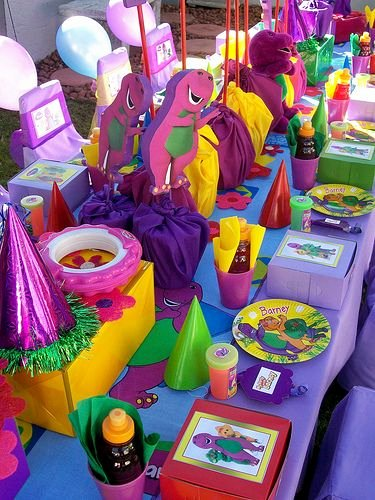 Barney Birthday Decoration Ideas Beautiful Barney Table Layout""