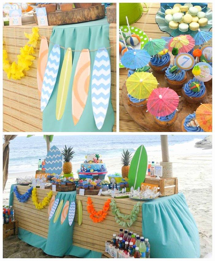Beach Birthday Decoration Ideas Beautiful Surfin Safari Surf themed Birthday Party