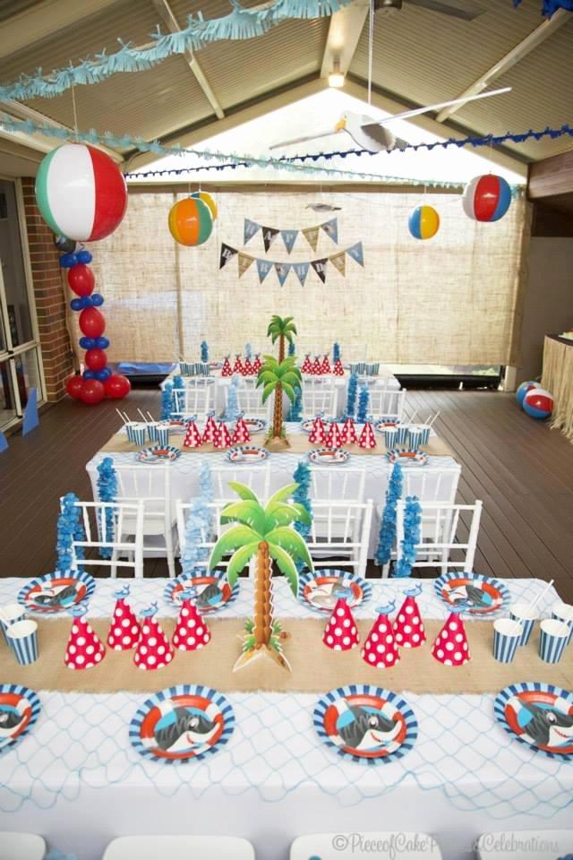 Beach Birthday Decoration Ideas Elegant Boy S Shark themed Beach Bash Birthday Party Spaceships
