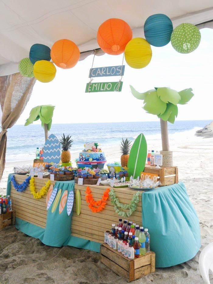 Beach Birthday Decoration Ideas Fresh Surfin Safari Surf themed Birthday Party