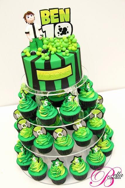 Ben 10 Birthday Decoration Ideas Elegant Ben 10 Cupcake tower