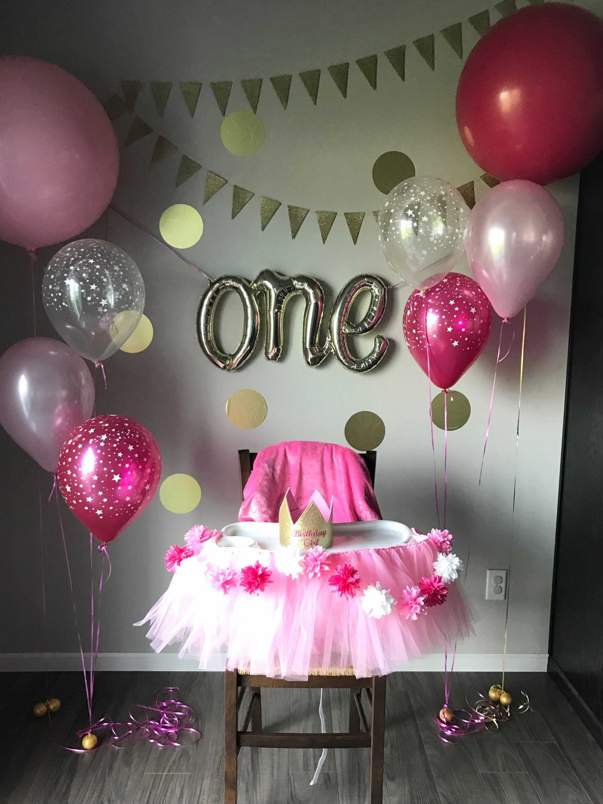 Birthday Decoration Ideas at Home for Baby Girl Beautiful First Birthday Party