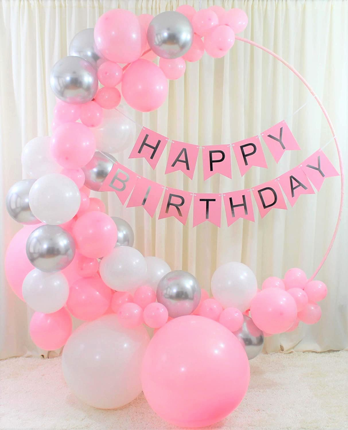 Birthday Decoration Ideas at Home for Baby Girl Beautiful Qutechat Happy Birthday Decorations for Women and Girls 88 Pink White and Silver Balloons Lovely Banner with White Ribbon Diy tool Kit for