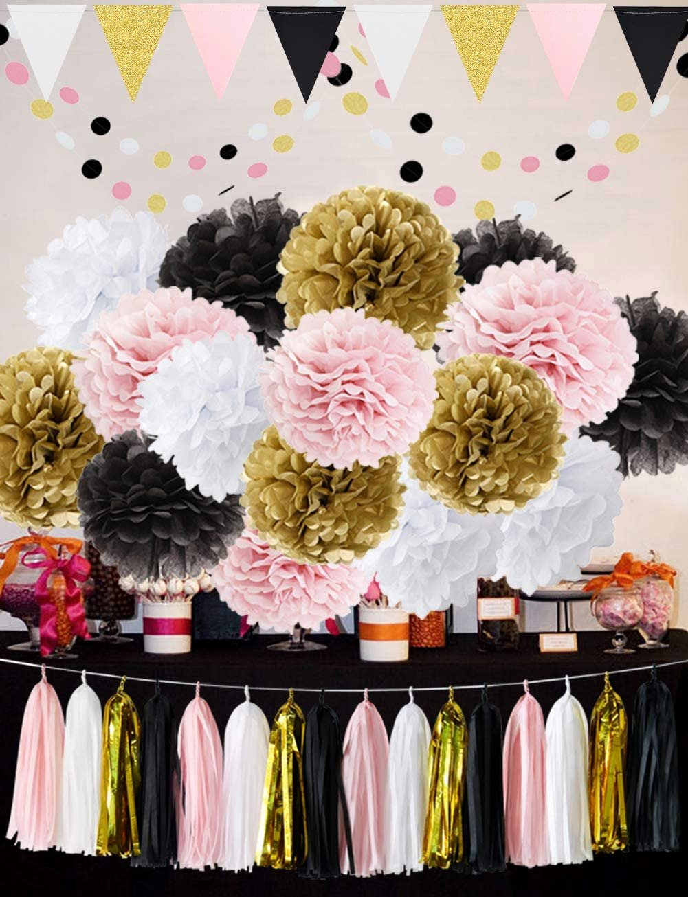 Birthday Decoration Ideas Black and Gold Lovely French Paris theme Birthday Decorations Party Decoration 35pcs Black Pink White Gold Tissue Paper Pom Pom Paper Tassel Garland Circle Garland Triangle