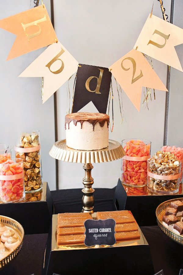 Birthday Decoration Ideas Black and Gold Lovely High Style Black & Gold Birthday Party Hostess with the