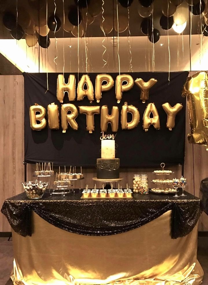 Birthday Decoration Ideas Black and Gold New Dessert Table for Black and Gold Birthday Party theme