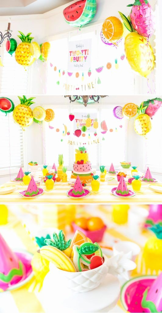 Birthday Decoration Ideas for 2 Year Girl Elegant Two Tti Fruity 2nd Birthday Party Pizzazzerie
