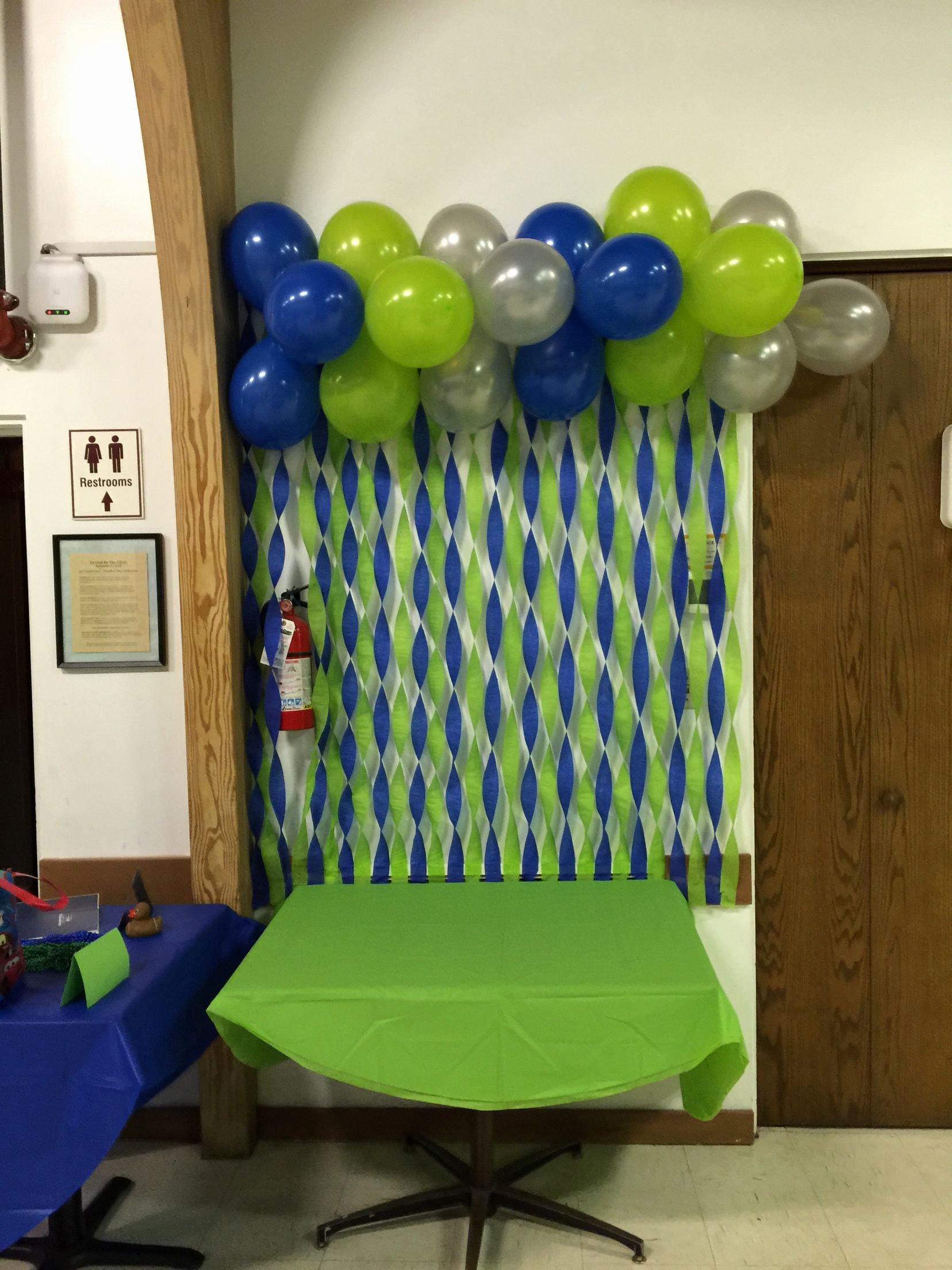 Birthday Decoration Ideas for Wall Unique Blue Green and Sliver Wall Decor with Streamers and