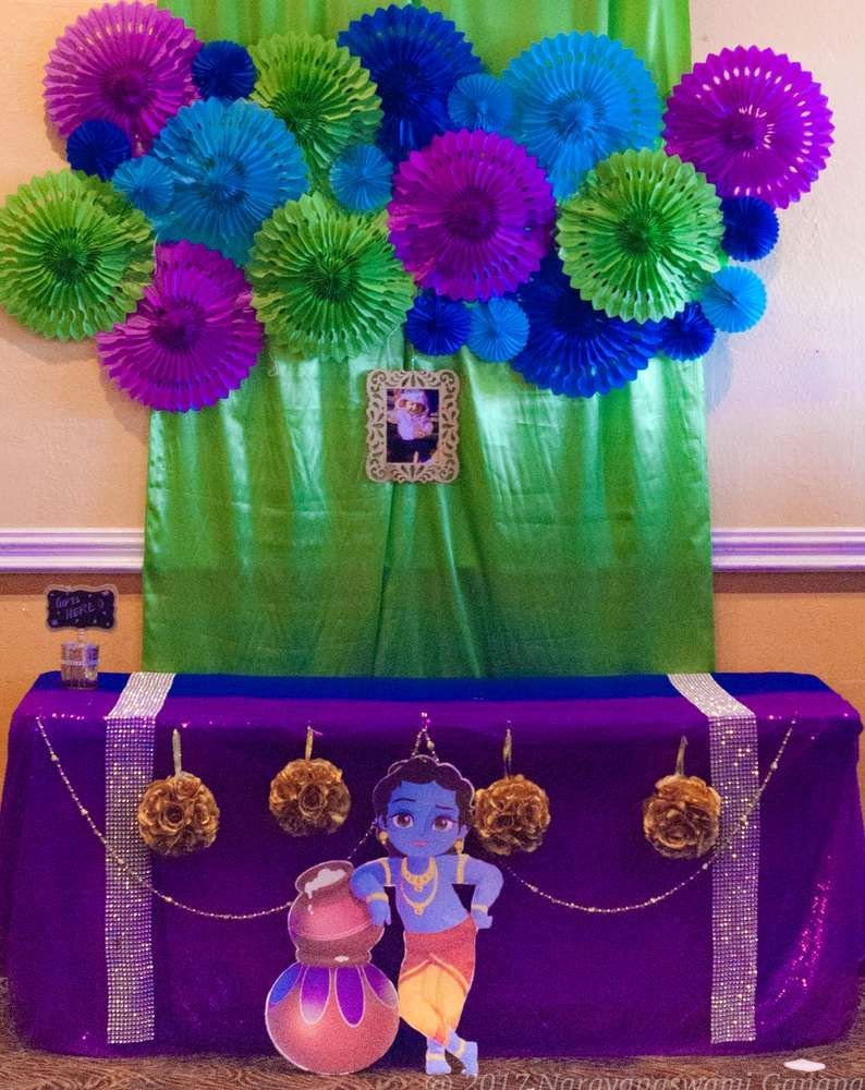 Birthday Decoration Ideas In India Elegant Krishna Birthday Party Ideas 1 Of 22