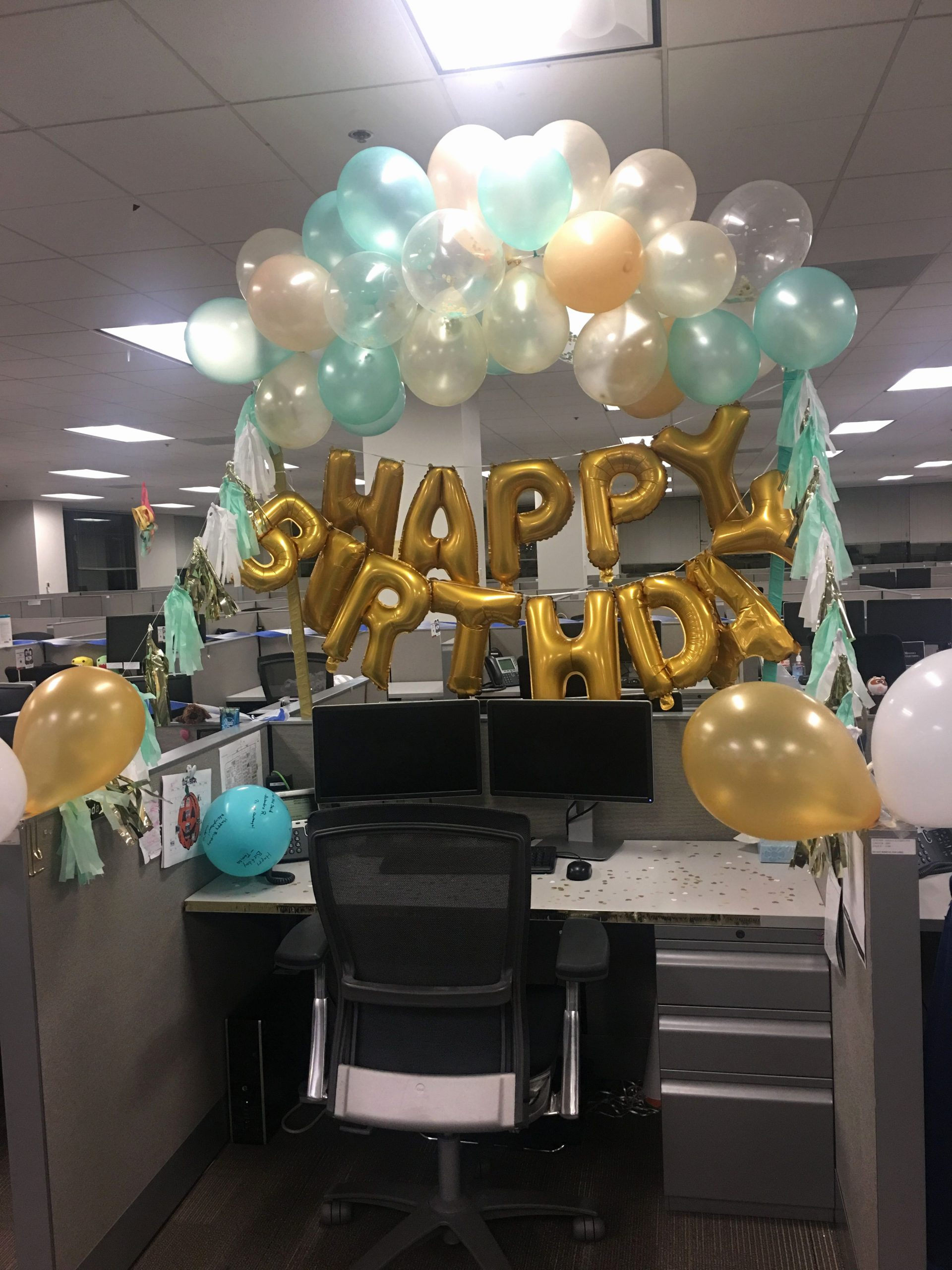 Birthday Decoration Ideas In Office Unique Mint Green and Gold Desk Birthday Decorations