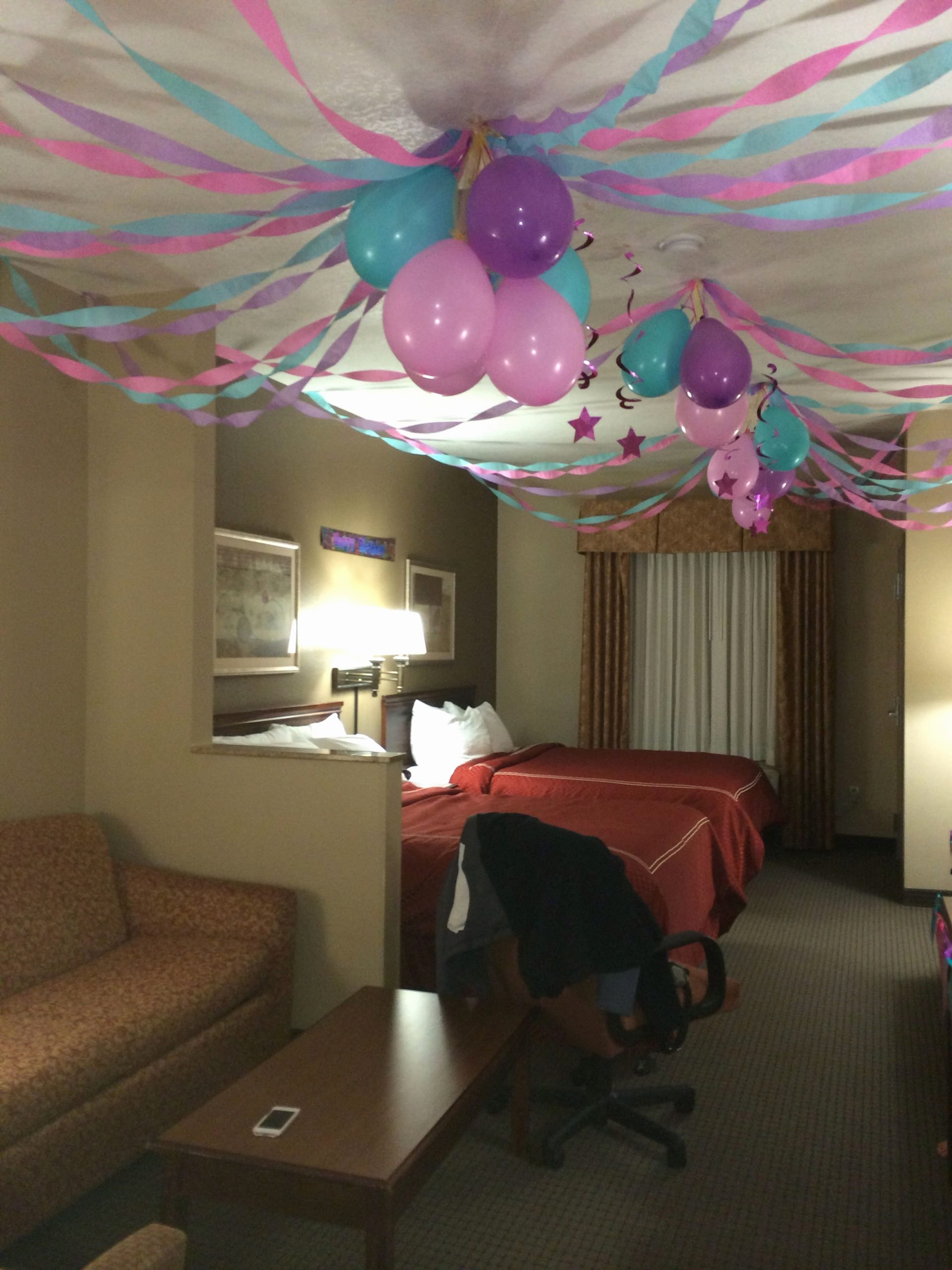 Birthday Decoration Ideas In Room Unique Birthday Party In A Hotel Room Invertedballons Streamers