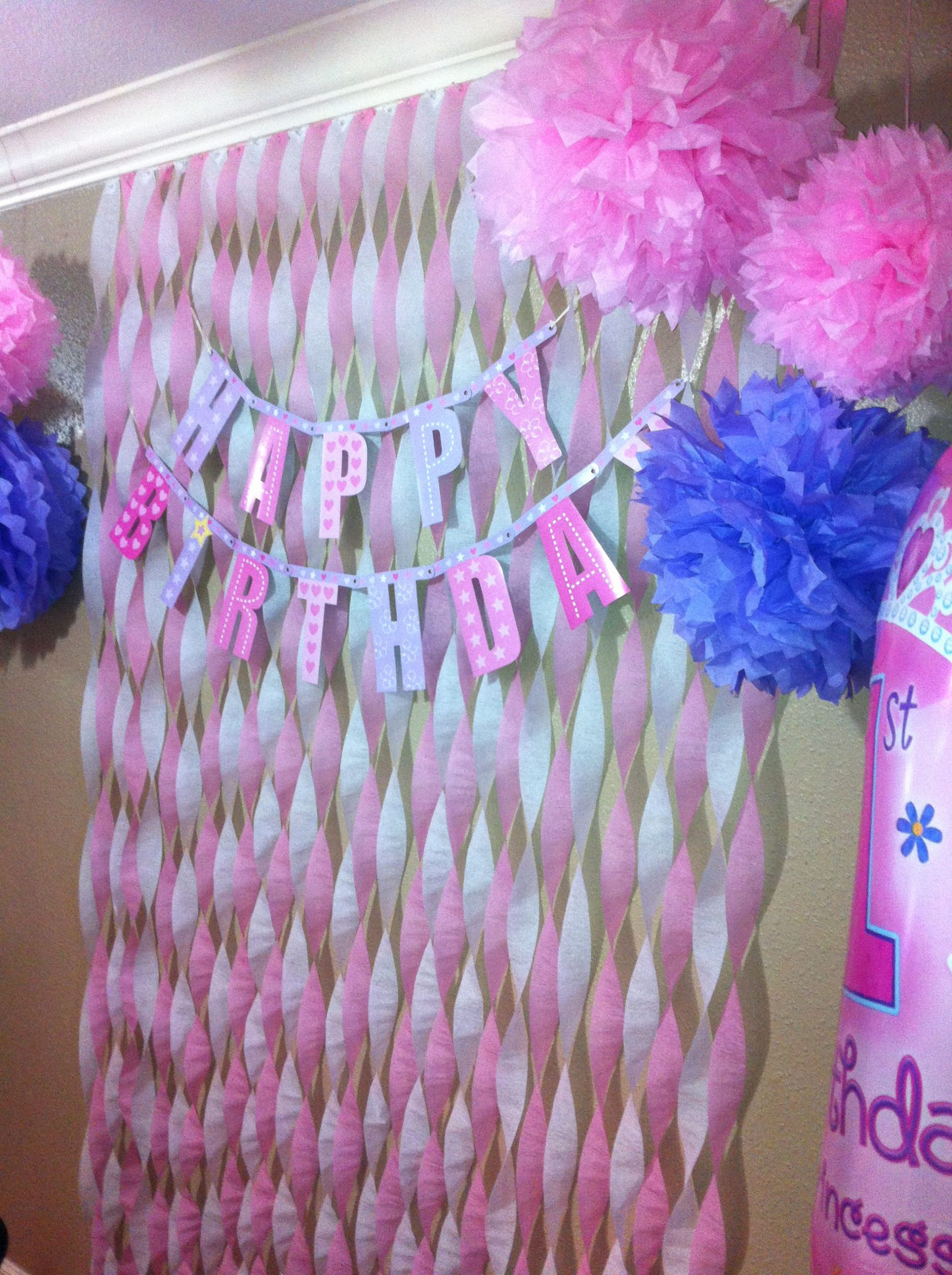 Birthday Decoration Ideas with Crepe Paper Lovely First Birthday Decor On A Bud for My sophia Pink and