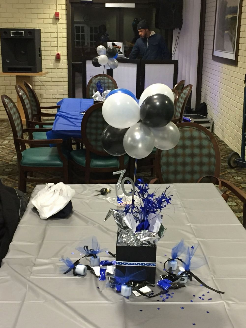Blue and Silver Birthday Decoration Ideas Fresh 70th Birthday Centerpieces Blue Black White and Silver