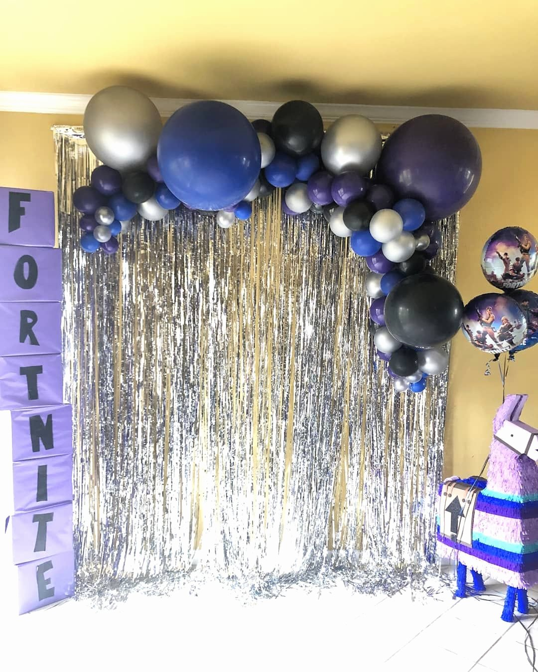 Blue and Silver Birthday Decoration Ideas Lovely fortnite Birthday Balloons