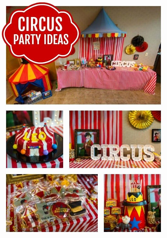 Circus Birthday Decoration Ideas Elegant Big top Circus theme Party Circus Party Ideas Pretty My