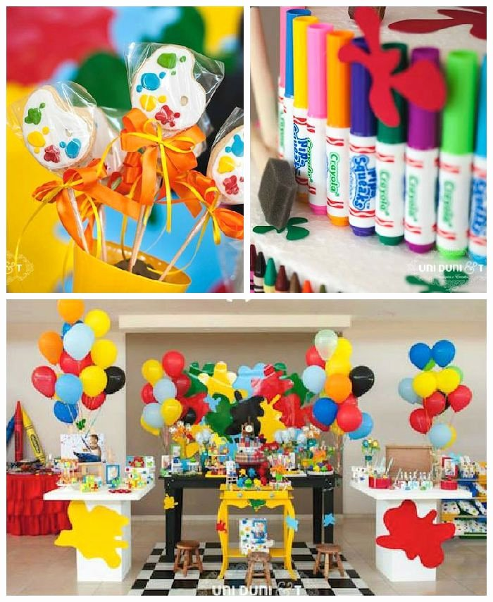 Colorful Birthday Decoration Ideas Best Of Colorful Art 1st Birthday Party