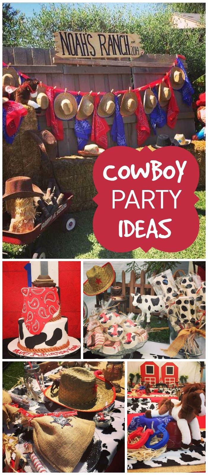"""Cowboy Birthday Decoration Ideas Beautiful Western Cowboy Birthday """"1st Birthday Bash at Noah S Ranch"""
