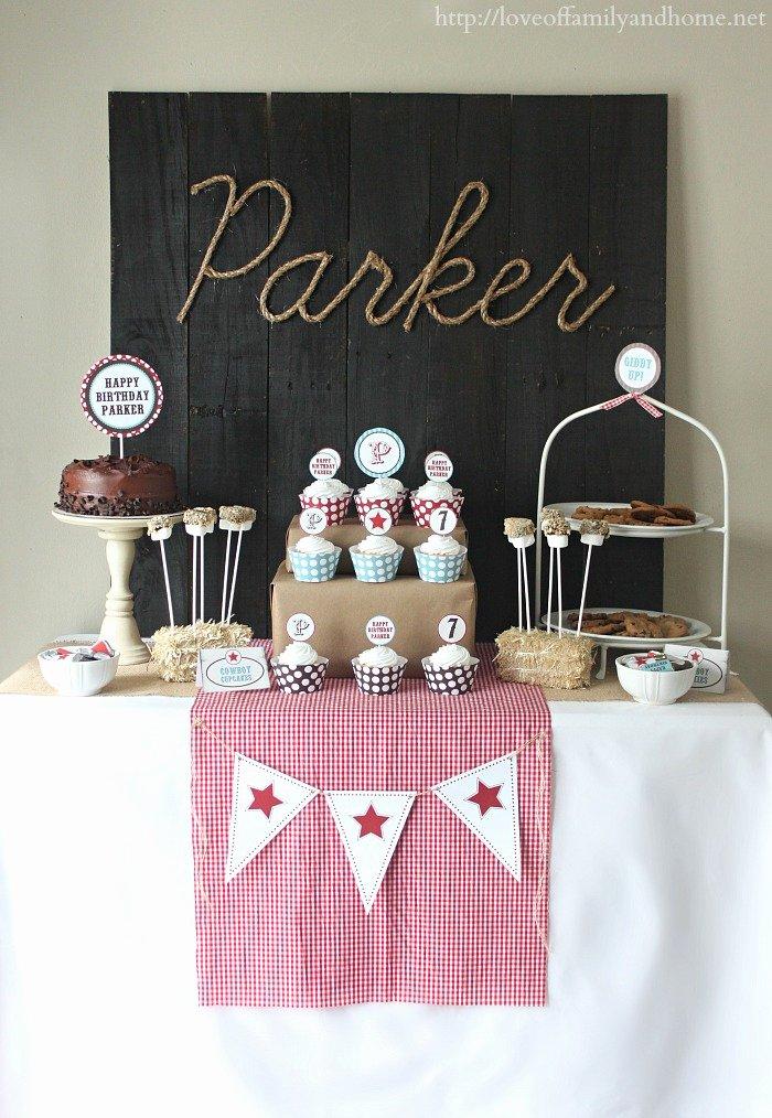 Cowboy Birthday Decoration Ideas Elegant Cowboy Birthday Party Ideas Parker Turns 7 Love Of
