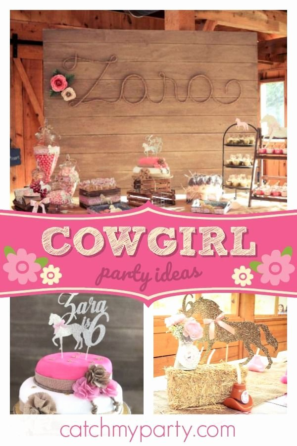 "Cowgirl Birthday Decoration Ideas Elegant Cowgirl Birthday ""gallop On Over to Zara S 6th Party"