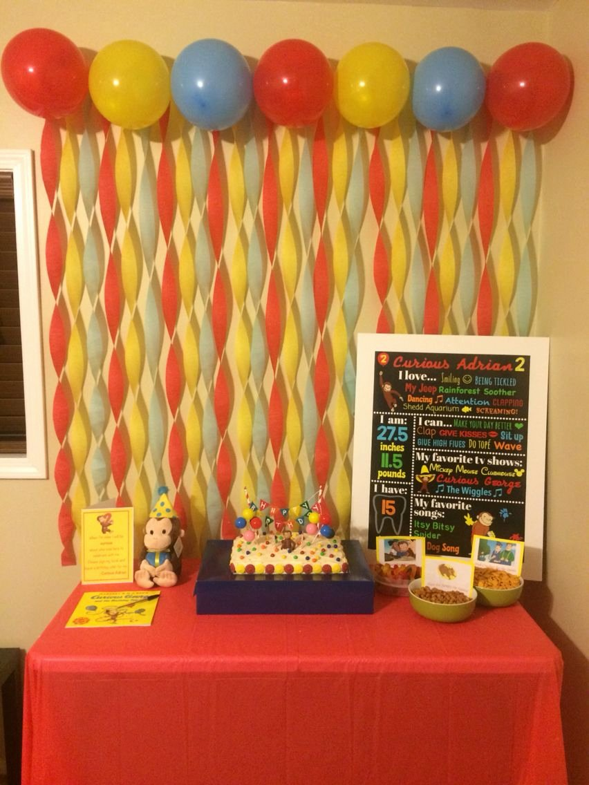 Curious George Birthday Decoration Ideas Lovely Curious George Birthday Party Cake Table