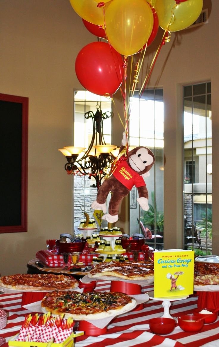 Curious George Birthday Decoration Ideas Lovely Curious George Birthday Pizza Buffet Cute We Did Curious