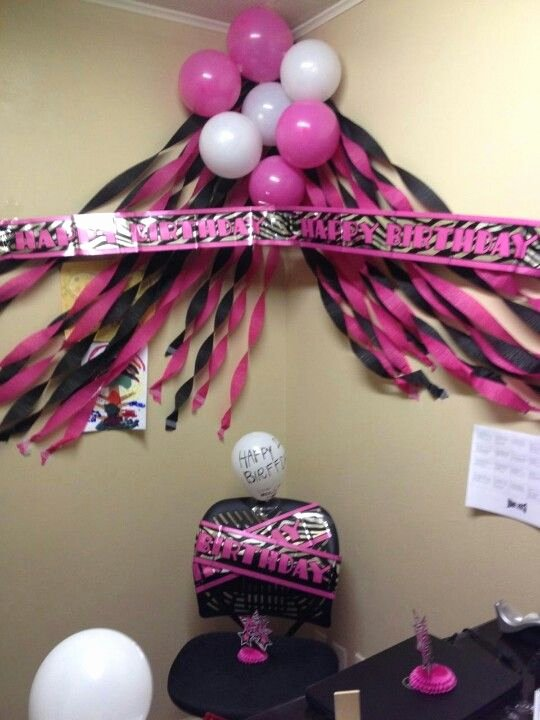 Desk Birthday Decoration Ideas for Work Inspirational This is the Perfect Black & Pink Birthday themed Corner Desk