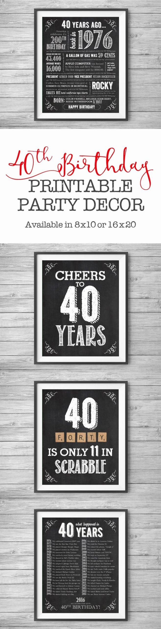Diy 40th Birthday Decoration Ideas Fresh 40th Birthday Printable Party Decor Supplies 4 Unique 8x10