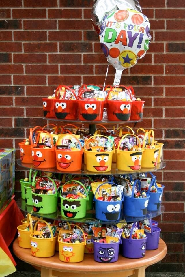 Elmo First Birthday Decoration Ideas Fresh Sesame Street Candy Buckets for My sons 1st Birthday