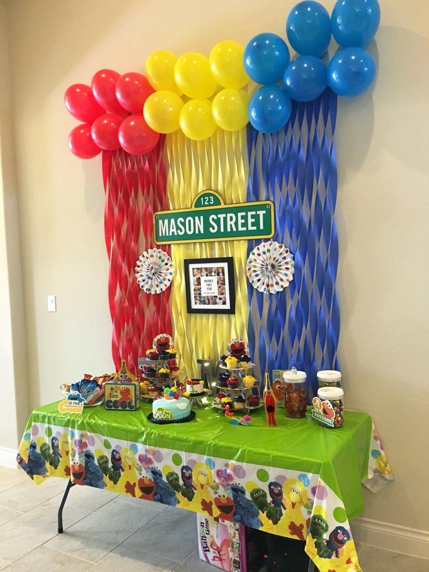 Elmo First Birthday Decoration Ideas New Sesame Street First Birthday Party Elmo Sesamestreet