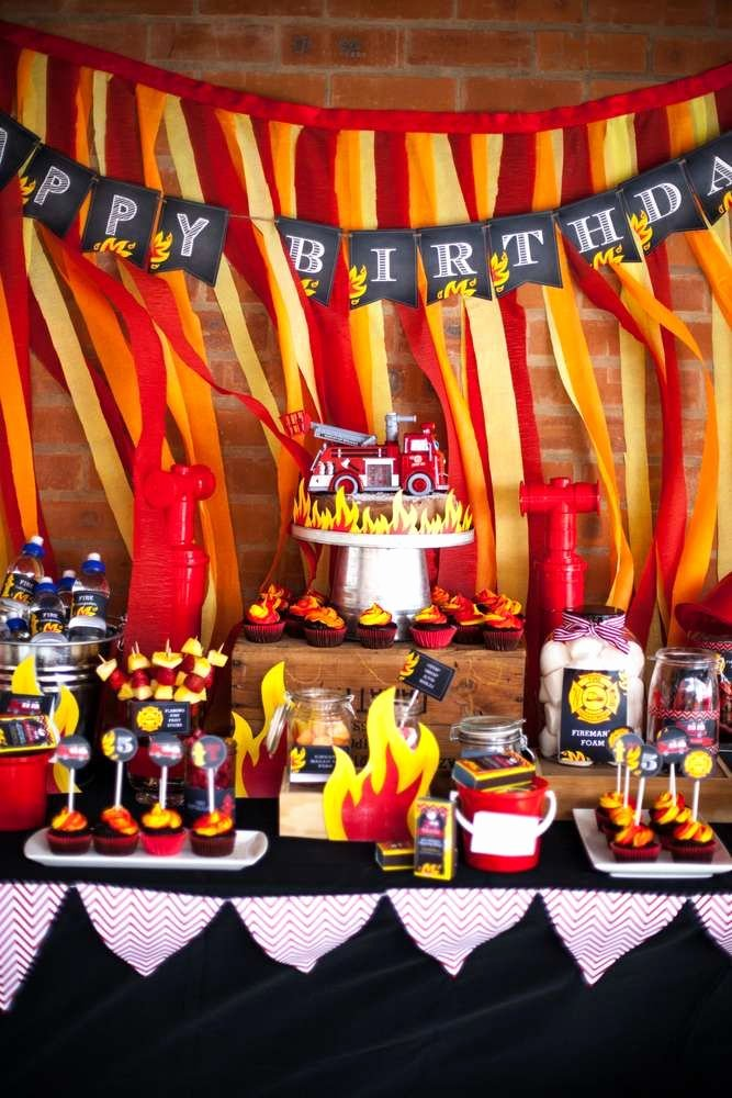 Fire Truck Birthday Decoration Ideas Awesome Fire Truck Firefighter Birthday Party Ideas
